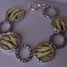 White Black Animal Print Zebra Circle Bracelet