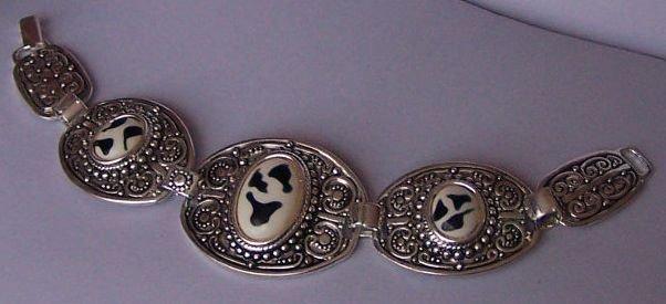 White Black Animal Print Zebra Oval Circle Bracelet