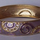 Purple Clear Crystal Gold Tone Bangle Bracelet