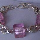 Pink Square Murano Glass Silver Tone Bracelet