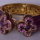 Purple Lavender Amethyst Swarovski Crystal Flower Bangle Bracelet