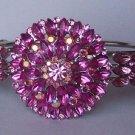 Hot Pink Magenta Fuchsia Crystal Bangle Bracelet