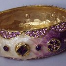 Purple Lavender Amethyst Off White Cream Beige Swarovski Crystal Flower Bangle Bracelet