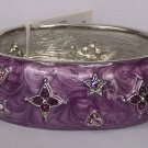 Purple Lavender Amethyst AB Aurora Borealis Crystal Flower Bangle Bracelet