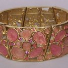 Pink Mosaic Crystal  Bangle Bracelet