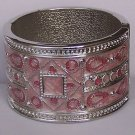 Hot Pink Magenta Fuchsia Silver Tone Wide Bangle Bracelet