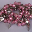 Pink Pearl Fall Leaf Leaves Bangles Bracelet
