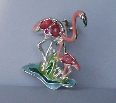 Pink Flamingo Bird Rhinestone Tropical Brooch Pin
