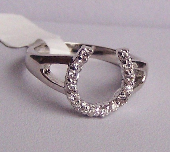 Clear Crystal Horseshoe Horse Shoe Western Ring Size 5