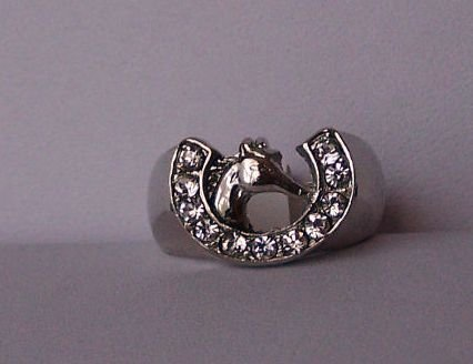 Clear Crystal Horseshoe Horse Shoe Western Head Ring Size 6
