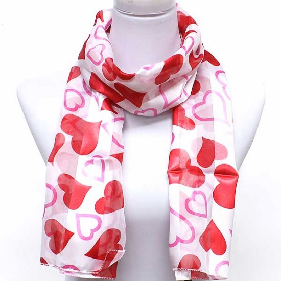 Red White Heart Love Valentines Day Scarf