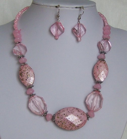 Pink Faceted Lucite Seed Bead Necklace Set