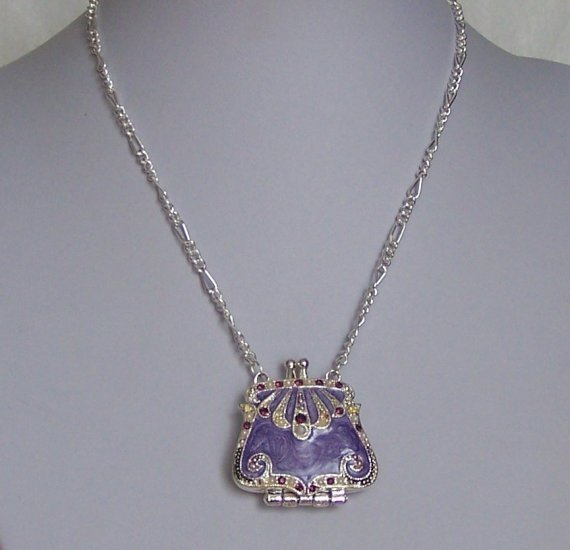 Off White Pearl Purple Handbag Purse Austrian Crystal Purse Locket Necklace