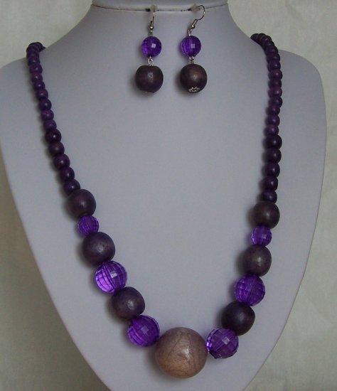Long Purple Lucite Wood Bead Necklace Set