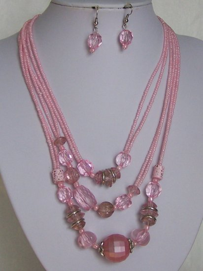 Pink Multistrand Faceted Lucite Seed Bead Necklace Set