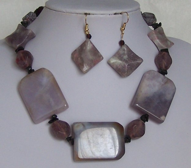 Purple Black Semi Precious Semiprecious Necklace Set