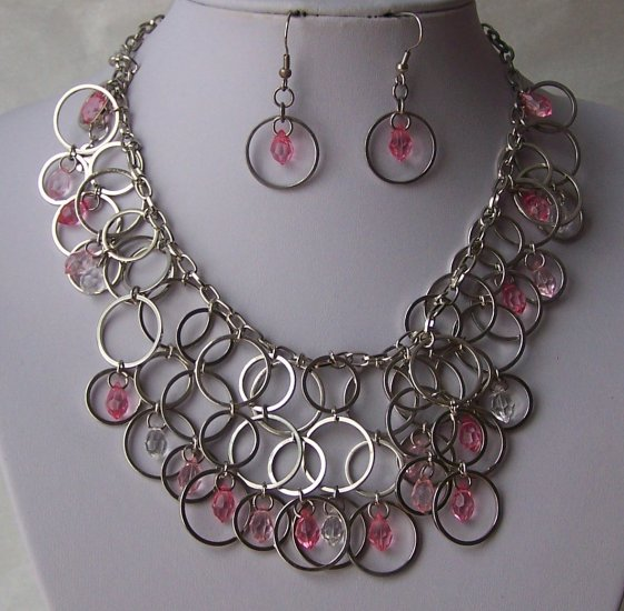 Pink Clear Layered Circle Cascading Silver Tone Necklace SEt
