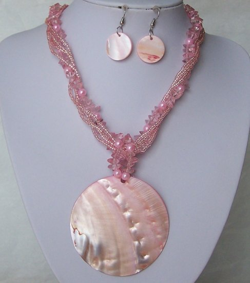 Pink Natural Shell Seed Bead Pearl Multistrand Necklace Set