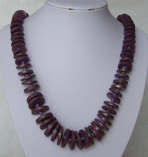 Purple Wood Gold Patina Long Necklace Set