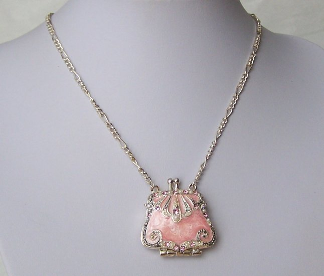 Pink Off White Pearl Austrian Crystal Purse Locket Necklace