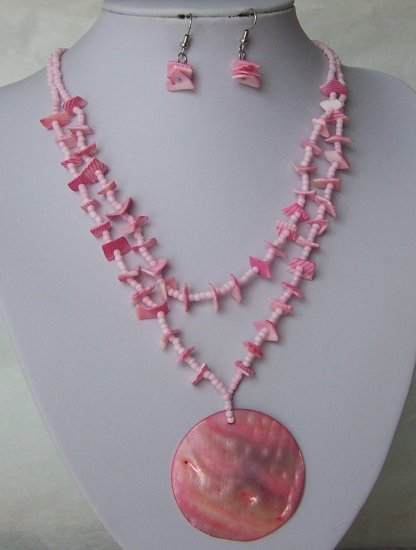 Pink Natural Shell Seed Bead MOP Multistrand Necklace Set