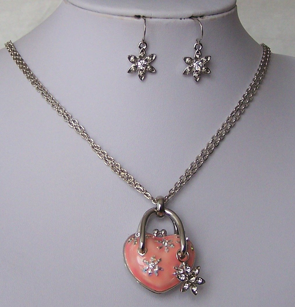 Pink Flower Clear Crystal Heart Love Valentines Day Necklace Set