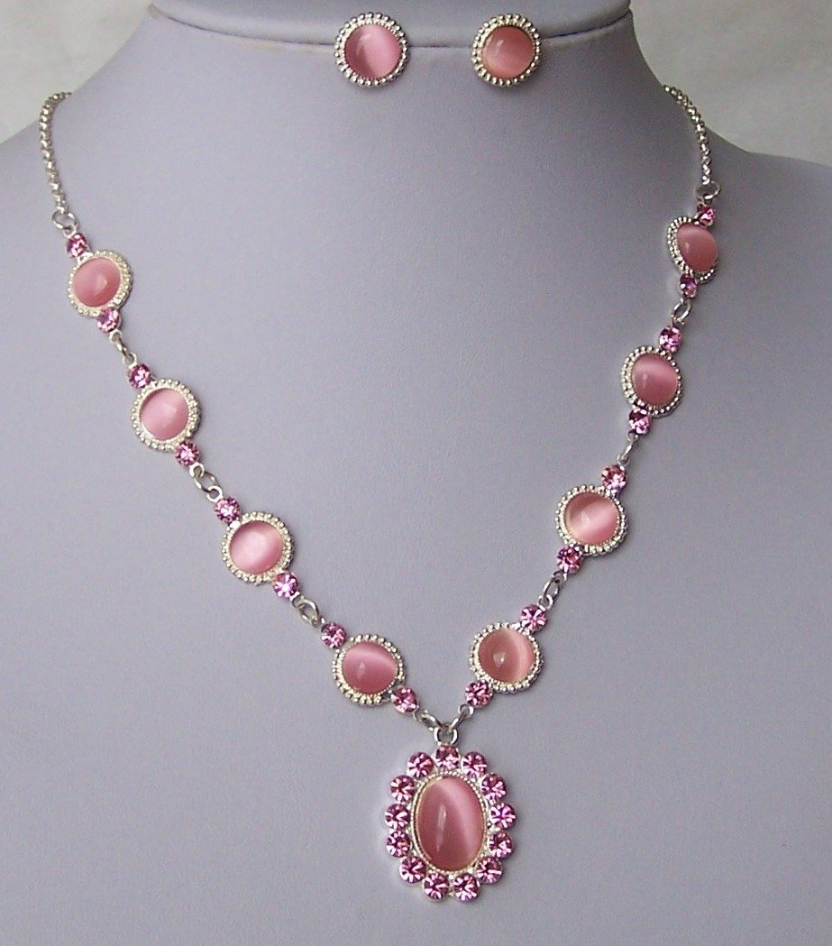 Pink Crystal Cats Eye Silver Tone Necklace Set