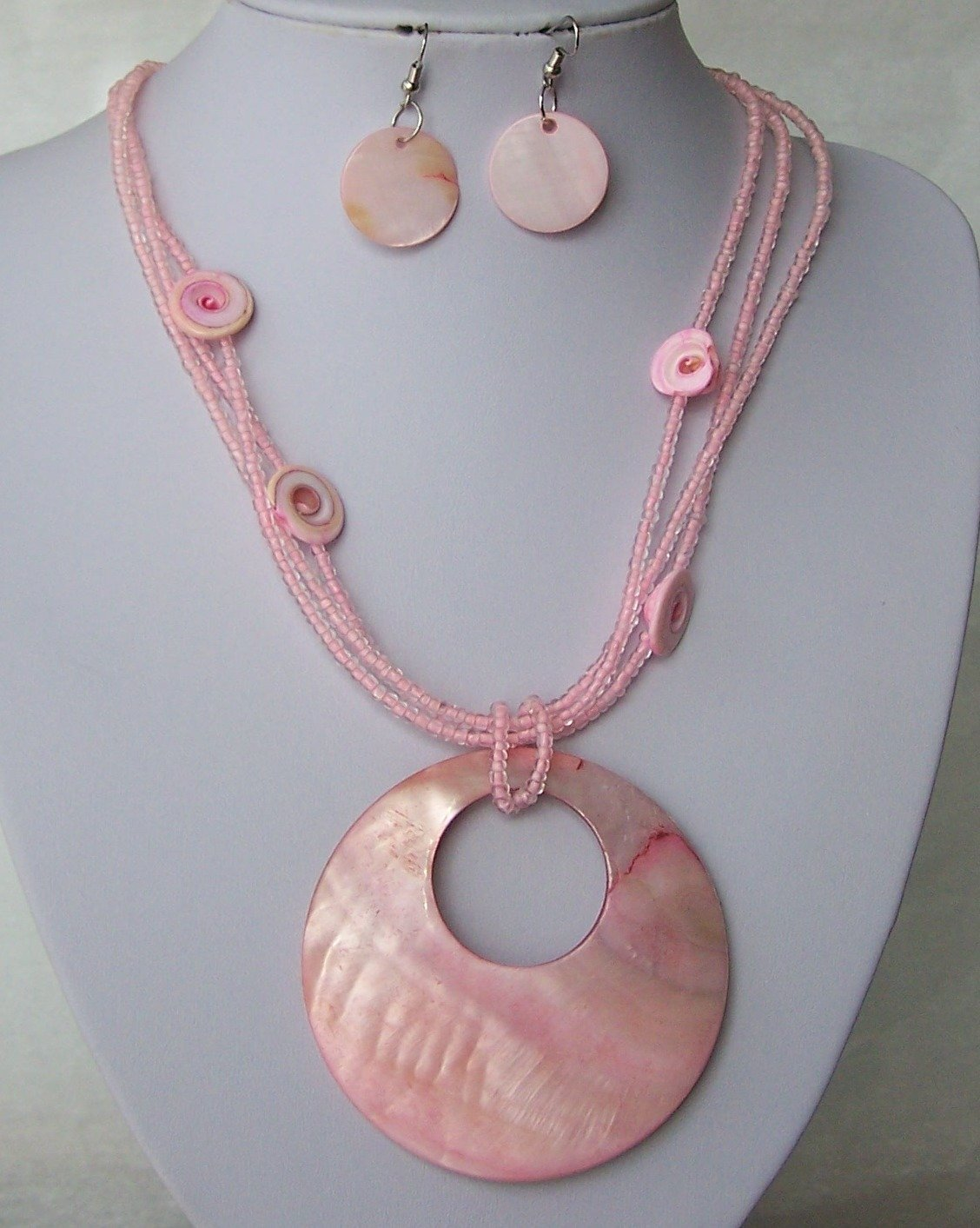 Chunky Pink Natural Shell Seed Bead Necklace Set