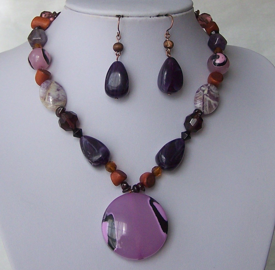 Chunky Purple Pink Black White Multicolor Circle Necklace Set