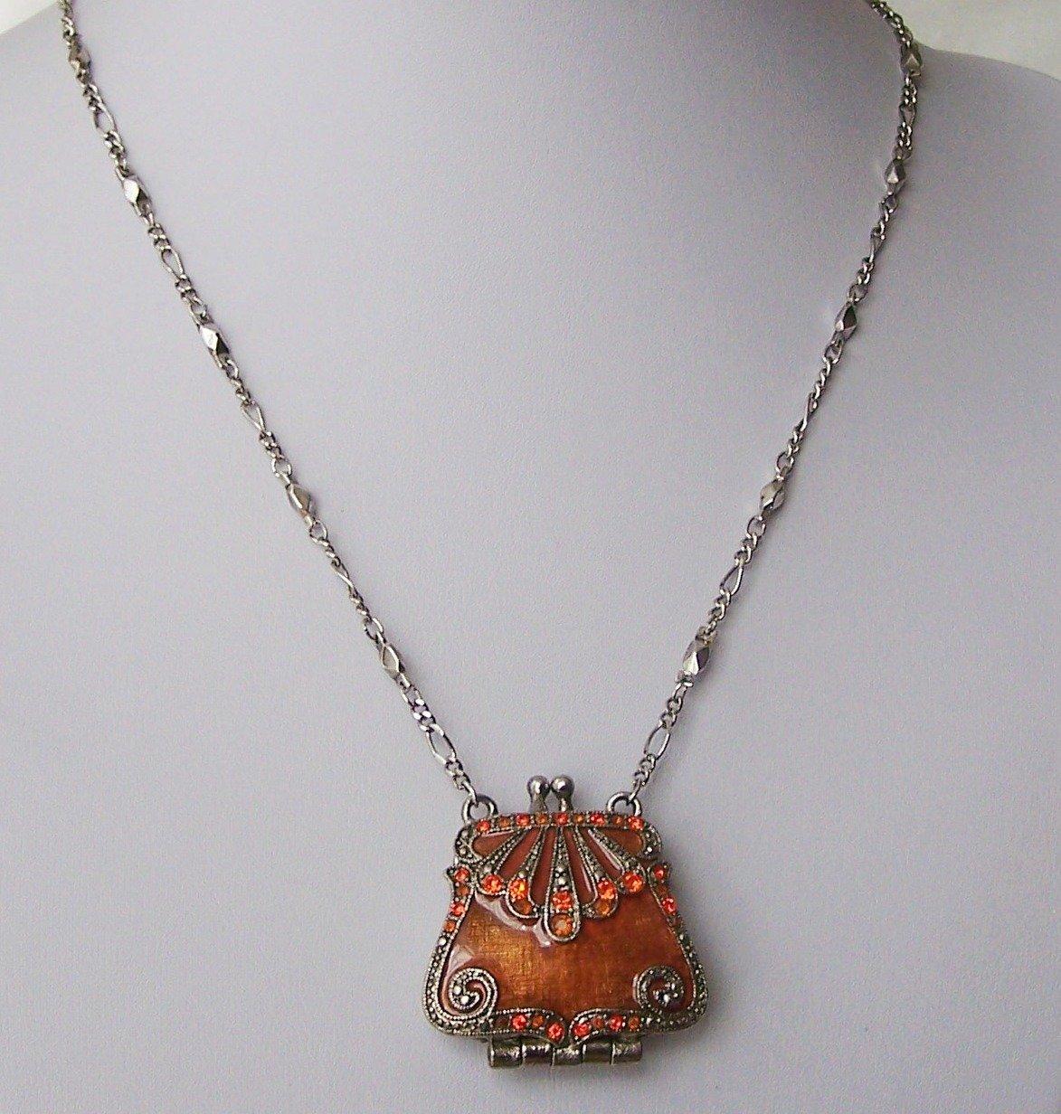 Brown Rust Rusty Orange Handbag Purse Austrian Crystal Purse Locket Necklace
