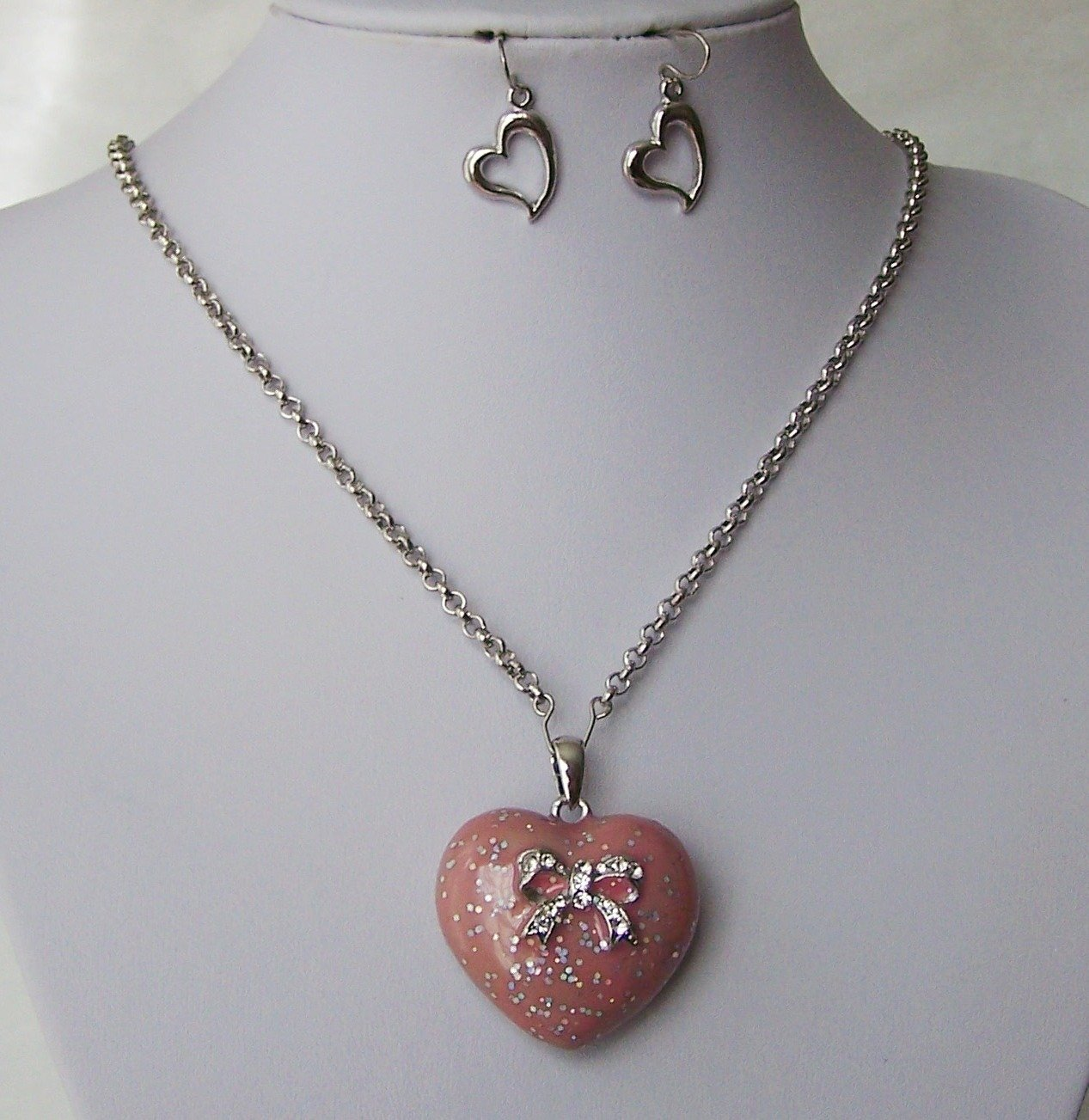 Pink Flower Clear Bow Ribbon Crystal Heart Love Valentines Day Necklace Set