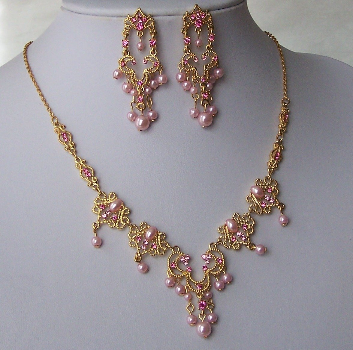 Pink Gold Tone Pearl Crystal Prom Bridal Bride Wedding Necklace Set