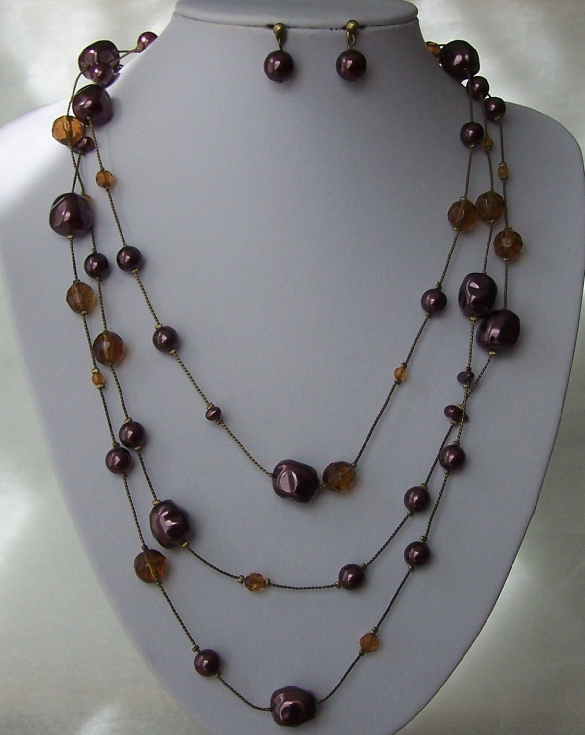 PURPLE BROWN LONG MULTI STRAND MOTHER OF PEARL GENUINE SHELL NECKLACE SET