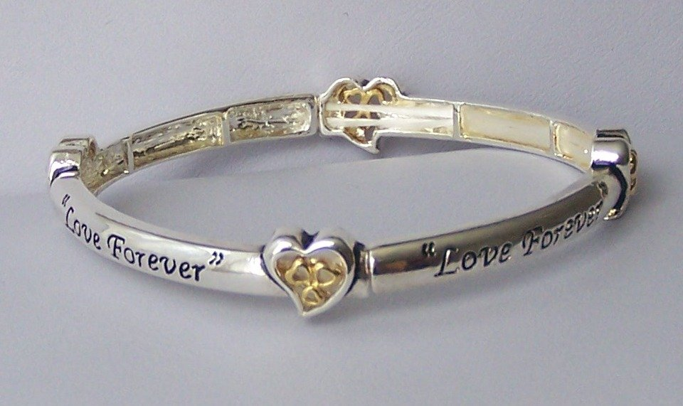 Love Forever Two Tone Inspirational Heart Love Valentines Day Bangle Bracelet
