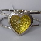 Yellow Heart Love Valentines Day Bangle Bracelet