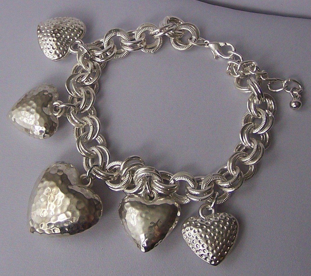 Puffy Doublelink 3D Heart Love Valentines Day Charm Bracelet
