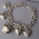 Puffy Doublelink 3D Heart Love Valentines Day Charm Bracelet