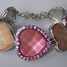 Pink Crystal Cabochon Heart Love Valentines Day Bracelet