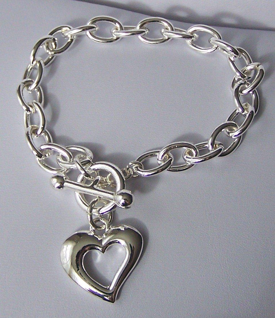 Open Heart Love Valentines Day Charm Bracelet