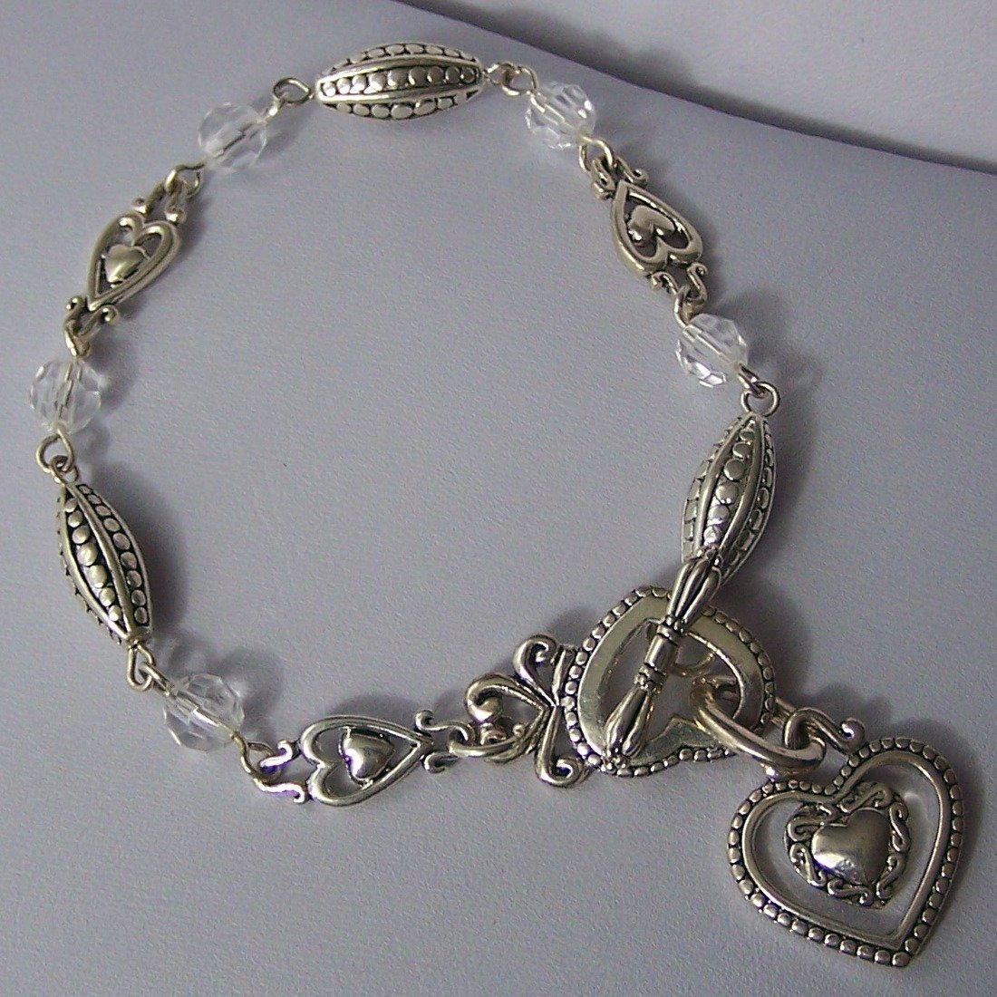 Open Clear Bead Heart Love Valentines Day Charm Bracelet