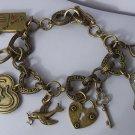 Blue Corsette Ring Key Filigree Arrow Heart I Love You Valentines Day Charm Bracelet