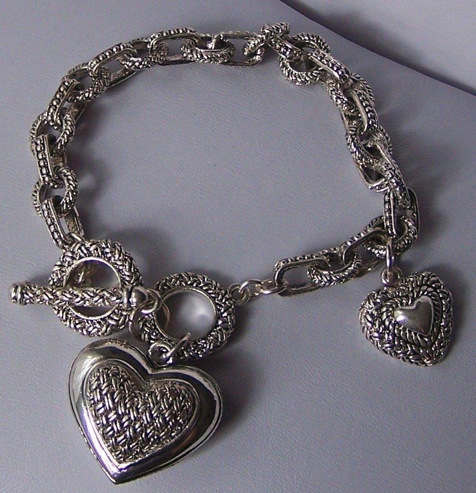 Basket Weave Style Heart Love Valentines Day Charm Bracelet