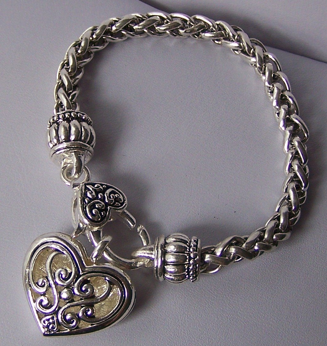 Braided Filigree Heart Love Valentines Day Charm Bracelet