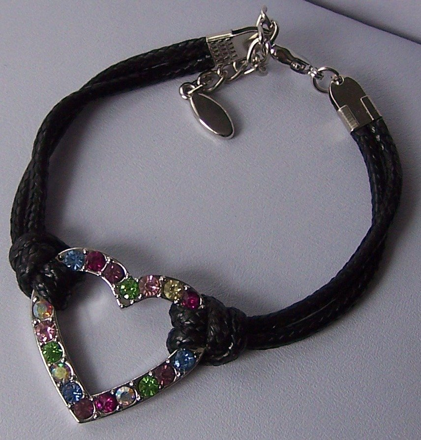 Black Western Style Multicolor Crystal Cord Heart Love Valentines Day Charm Bracelet