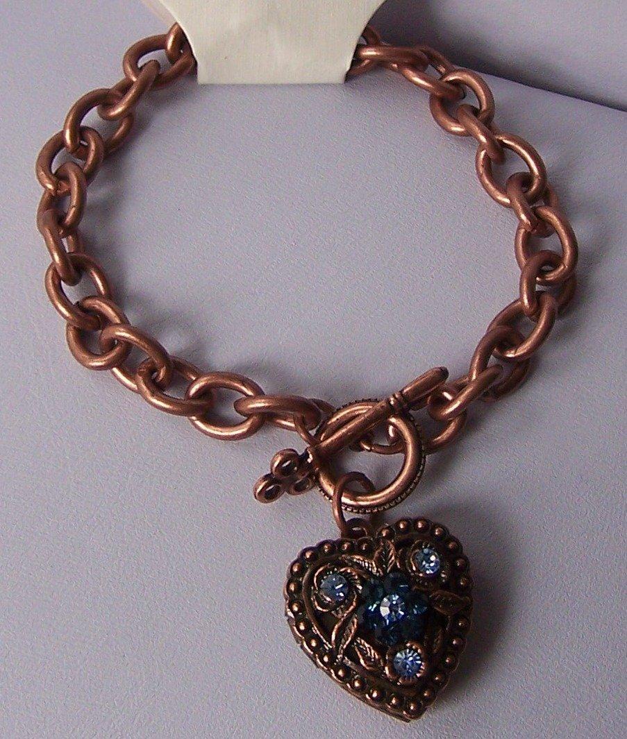 Blue Crystal Copper Tone Heart Love Valentines Day Charm Locket Bracelet
