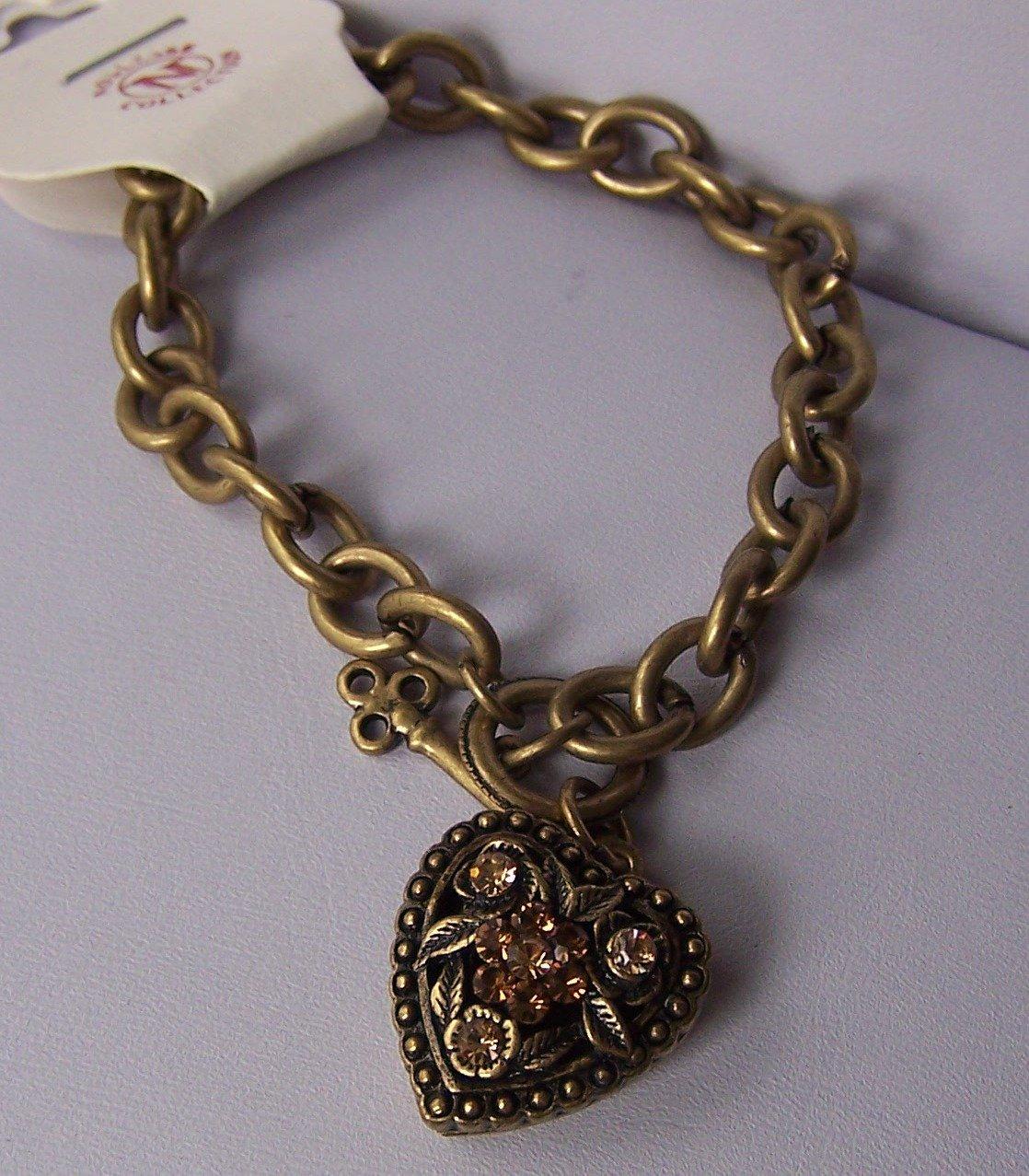 Brown Crystal Gold Tone Heart Love Valentines Day Charm Locket Bracelet