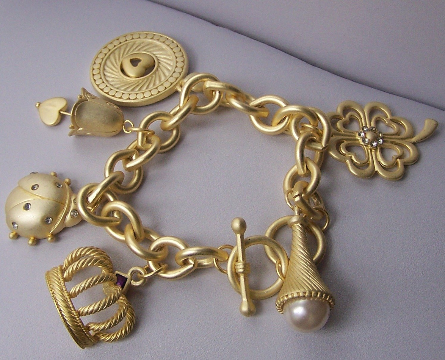 Chunky 3D Pearl Crown Beetle Good Luck Lover Heart Love Bell Gold Tone Charm Bracelet