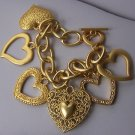 Chunky Filigree Gold Tone Open 3D Heart Love Valentines Day Charm Bracelet