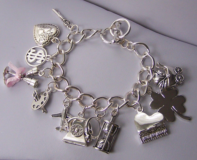 Wedding Bride Bridal Money Key Travel Good Luck Baby Sands of Time Heart Love Charm Bracelet