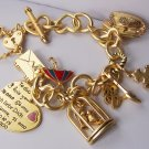 Chunky Filigree Gold Tone Key I Love You Je Ti Amo 3D Heart Love Valentines Day Charm Bracelet